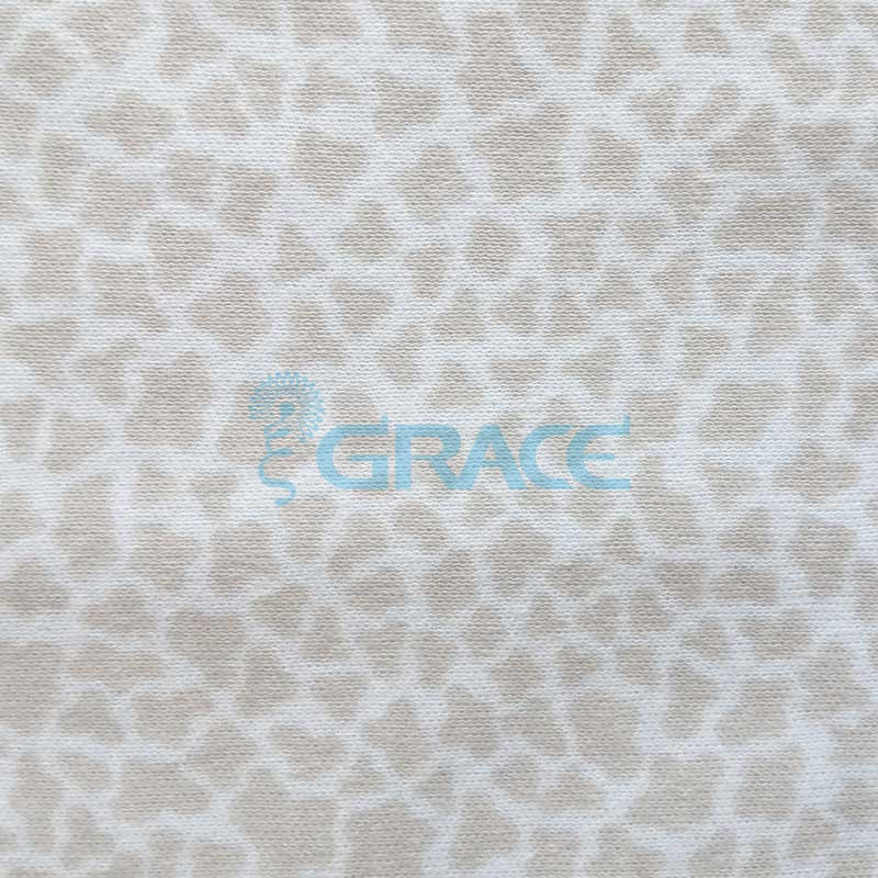 Интерлок с бежевыми пятнами, сафари - ткань хлопковая трикотажная с рисунком