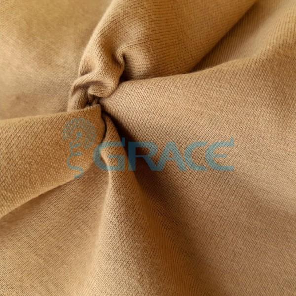 Кулирка джерси - ткань хлопковая трикотажная, светло-коричневая однотонная