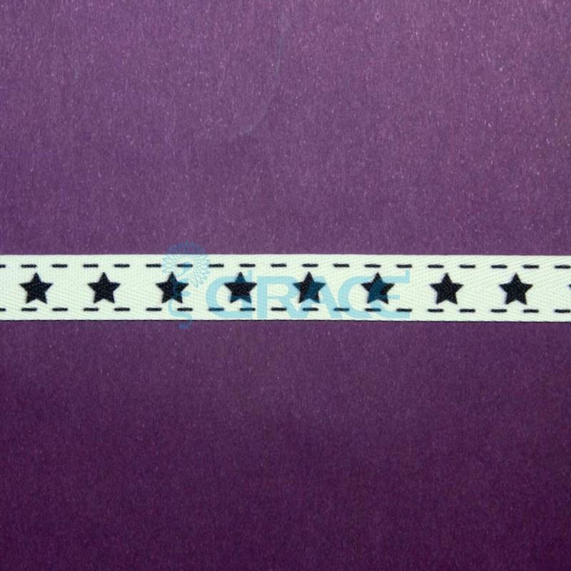 Лента тканая в елочку с принтом арт. 4041