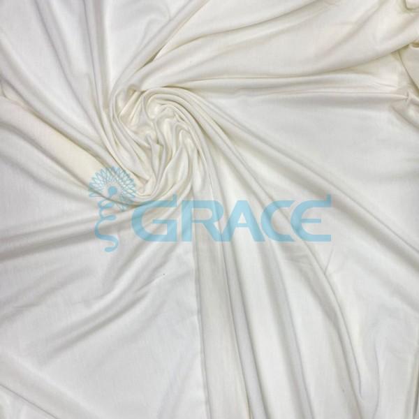 Кулирка джерси гламур - ткань трикотажная из вискозы, экрю струящаяся