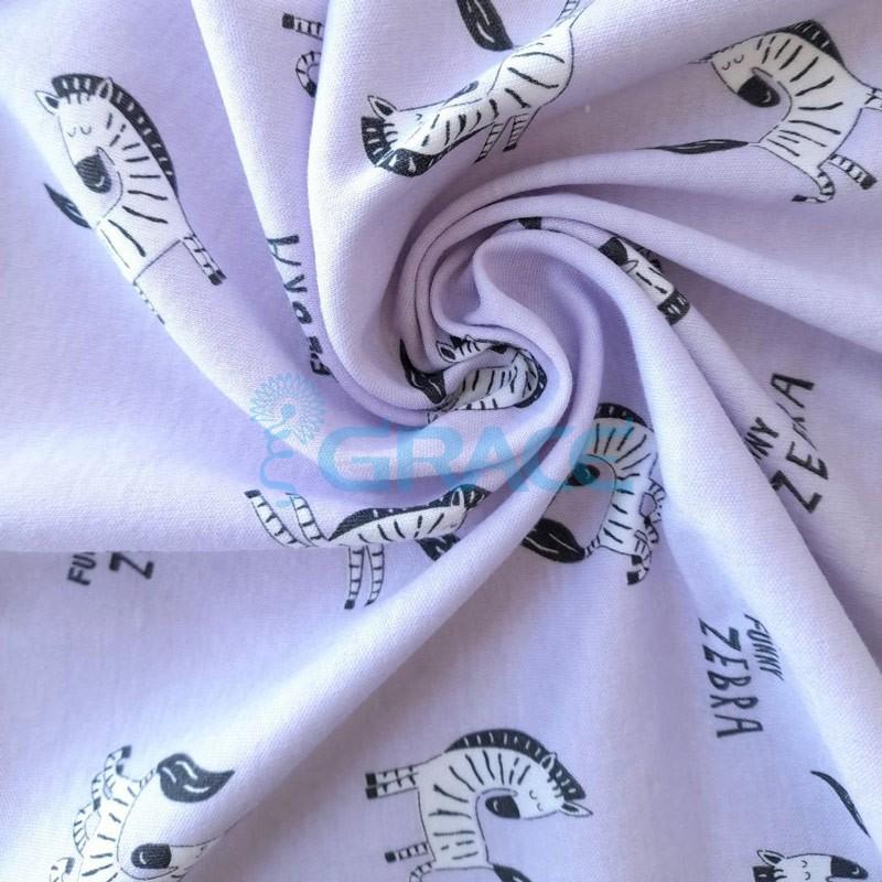 Интерлок розового оттенка - ткань хлопковая трикотажная с рисунком зебры
