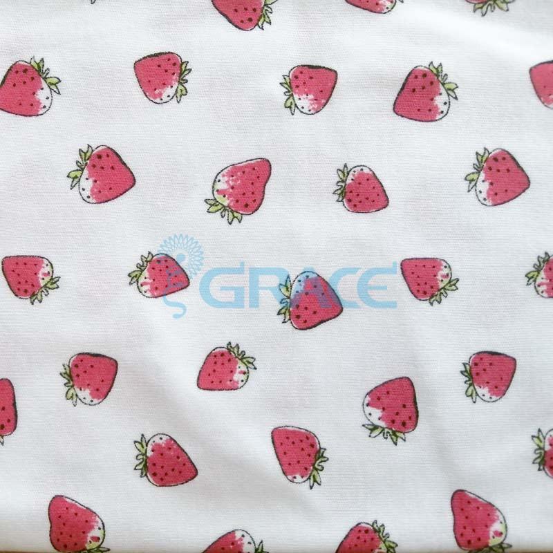 Интерлок клубника - ткань хлопковая трикотажная с рисунком