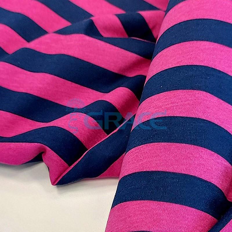 Кулирка джерси - ткань хлопковая трикотажная, в полоски розового и синего цвета