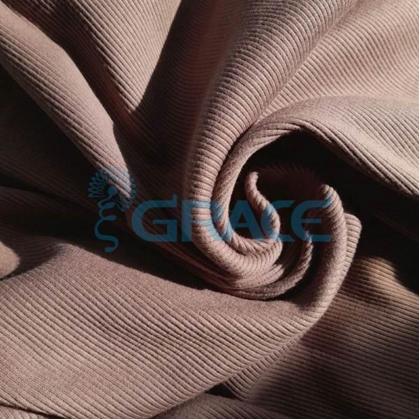 Рибана - ткань хлопковая трикотажная, с рубчиком в серо-коричневом цвете