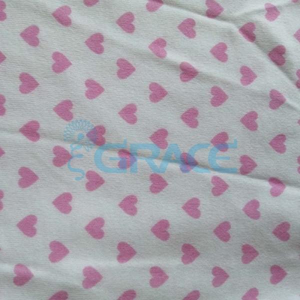 Интерлок с розовыми сердечками - ткань хлопковая трикотажная с рисунком