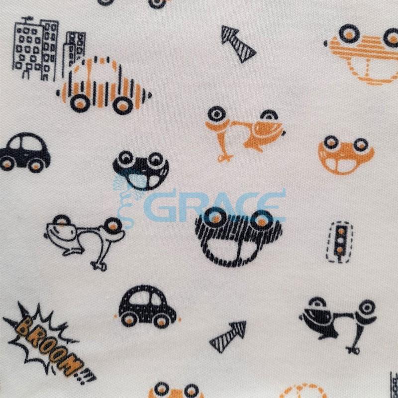 Интерлок бежевого оттенка - ткань хлопковая трикотажная с рисунком машинки