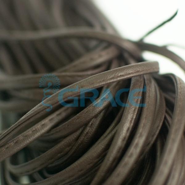 Кожаный шнур плоский 5 мм. со строчкой, экокожа (коричневый)
