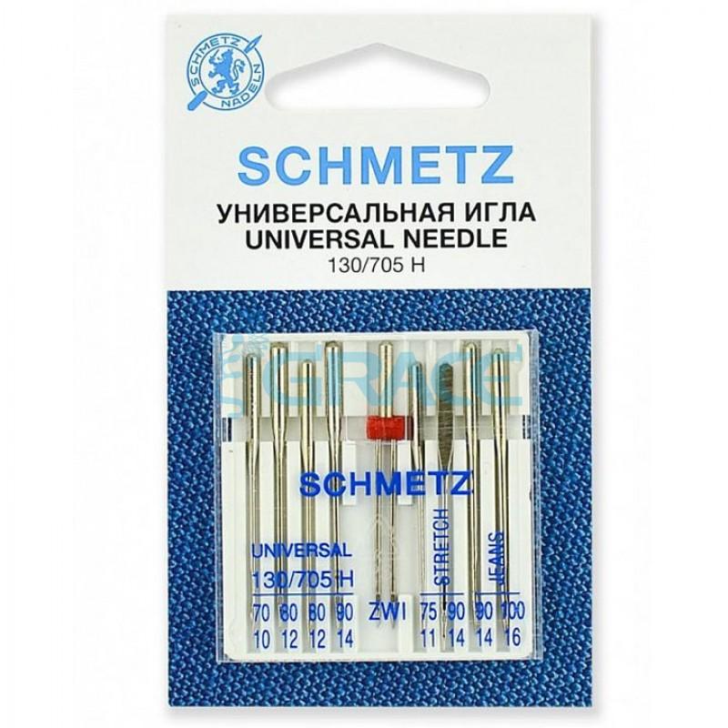 Иглы комбинированные Schmetz 70, 75, 80(2), 90(3), 100