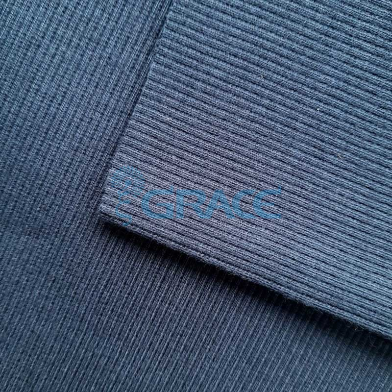 Рибана - ткань хлопковая трикотажная, с рубчиком в темно-синем цвете (гранат)